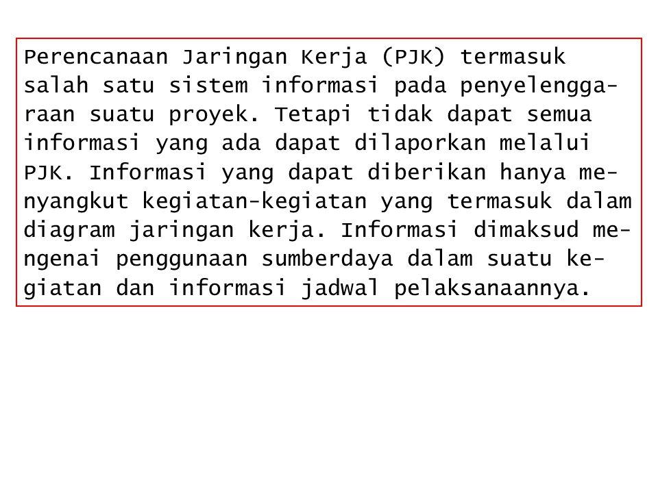 Perencanaan Jaringan Kerja (PJK) termasuk salah satu sistem informasi pada penyelengga- raan suatu proyek. Tetapi tidak dapat semua informasi yang ada