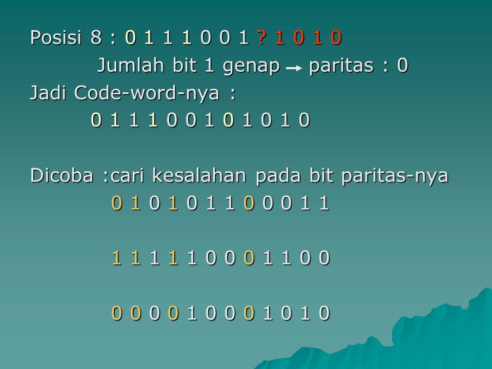 Posisi 8 : 0 1 1 1 0 0 1 ? 1 0 1 0 Jumlah bit 1 genap paritas : 0 Jumlah bit 1 genap paritas : 0 Jadi Code-word-nya : 0 1 1 1 0 0 1 0 1 0 1 0 0 1 1 1