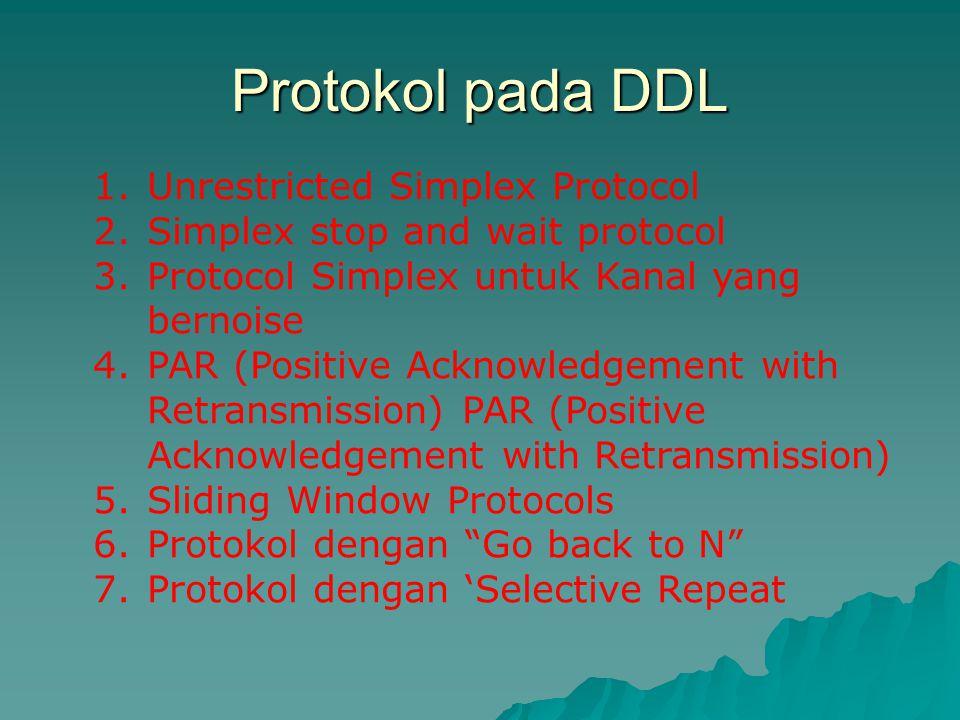 Protokol pada DDL 1.Unrestricted Simplex Protocol 2.Simplex stop and wait protocol 3.Protocol Simplex untuk Kanal yang bernoise 4.PAR (Positive Acknow