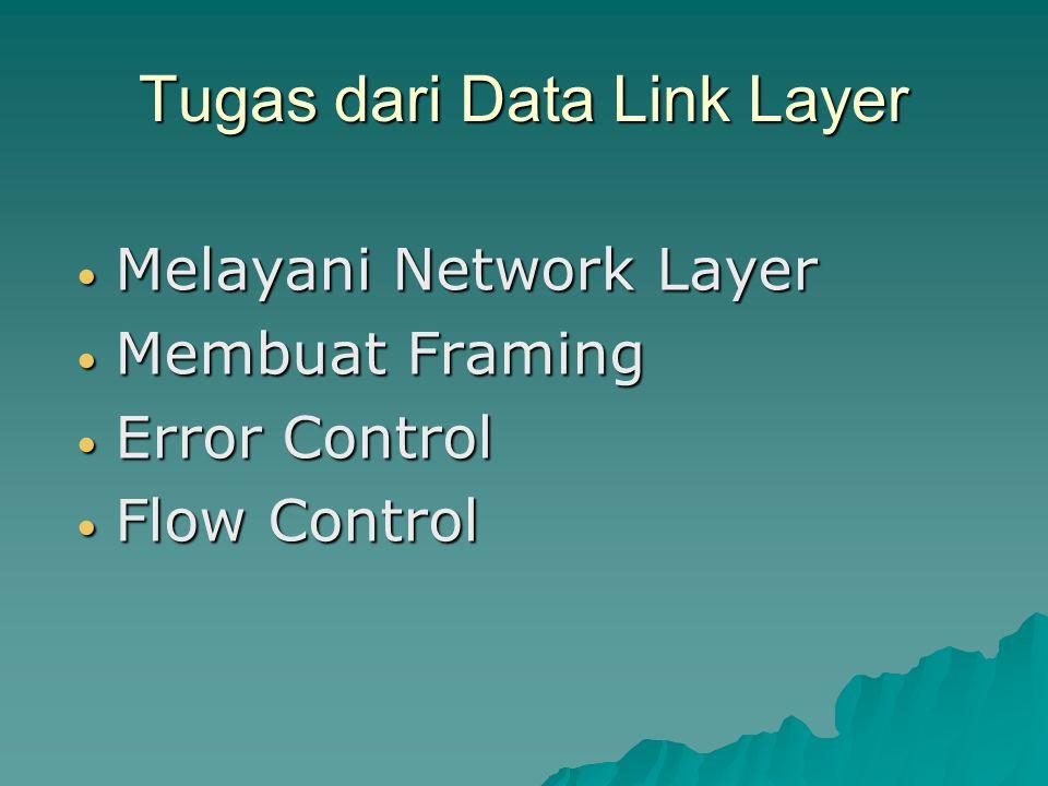 Tugas dari Data Link Layer Melayani Network Layer Melayani Network Layer Membuat Framing Membuat Framing Error Control Error Control Flow Control Flow