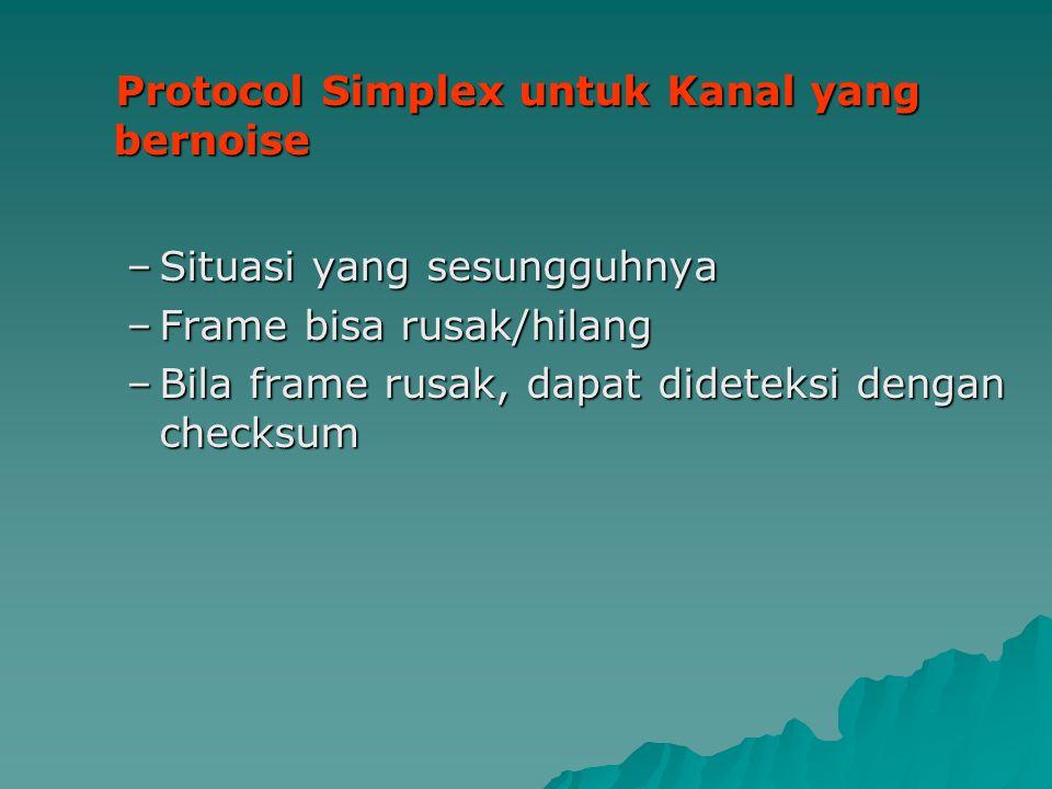 Protocol Simplex untuk Kanal yang bernoise Protocol Simplex untuk Kanal yang bernoise –Situasi yang sesungguhnya –Frame bisa rusak/hilang –Bila frame