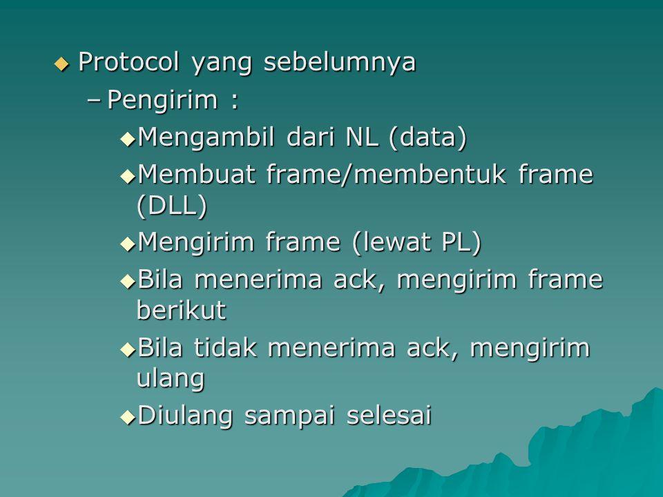  Protocol yang sebelumnya –Pengirim :  Mengambil dari NL (data)  Membuat frame/membentuk frame (DLL)  Mengirim frame (lewat PL)  Bila menerima ac