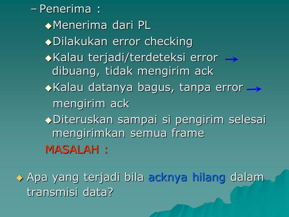 –Penerima :  Menerima dari PL  Dilakukan error checking  Kalau terjadi/terdeteksi error dibuang, tidak mengirim ack  Kalau datanya bagus, tanpa er