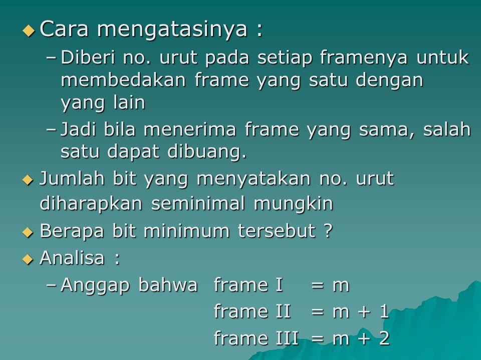  Cara mengatasinya : –Diberi no. urut pada setiap framenya untuk membedakan frame yang satu dengan yang lain –Jadi bila menerima frame yang sama, sal