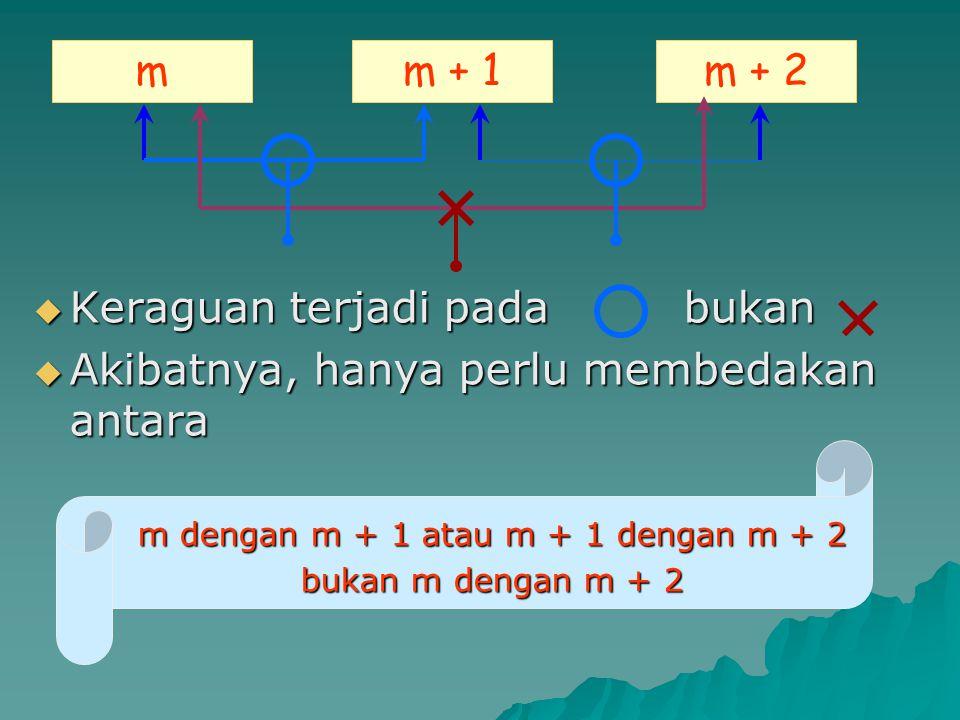  Keraguan terjadi pada bukan  Akibatnya, hanya perlu membedakan antara m dengan m + 1 atau m + 1 dengan m + 2 bukan m dengan m + 2 mm + 1m + 2