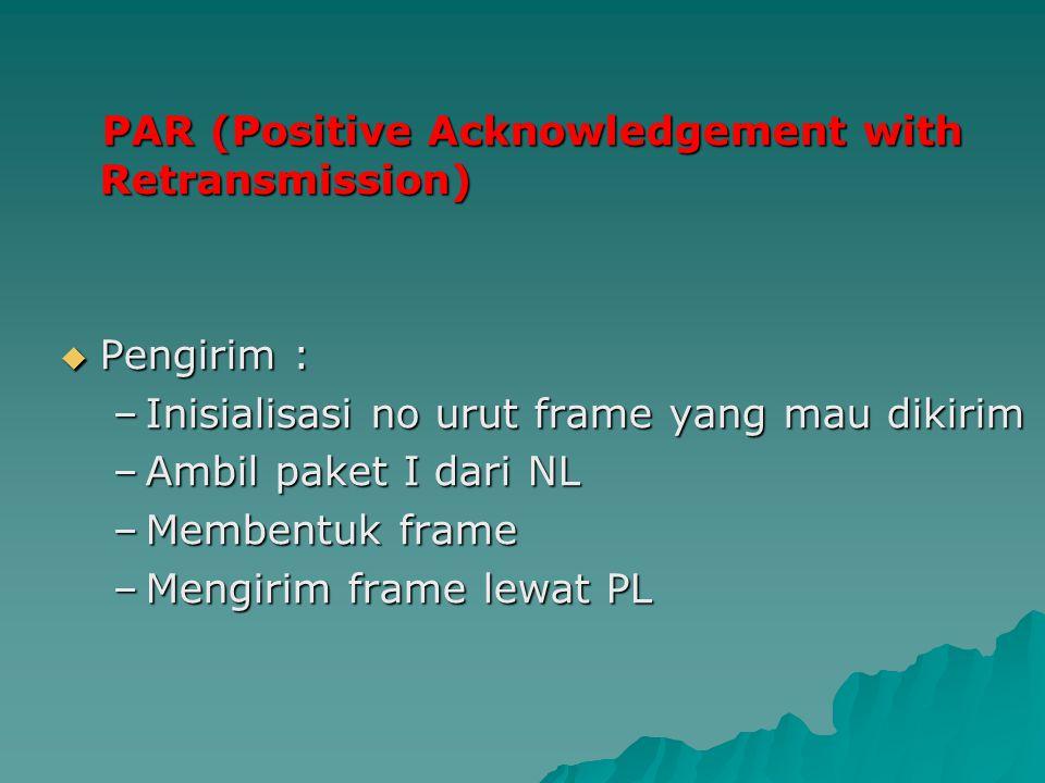 PAR (Positive Acknowledgement with Retransmission) PAR (Positive Acknowledgement with Retransmission)  Pengirim : –Inisialisasi no urut frame yang ma