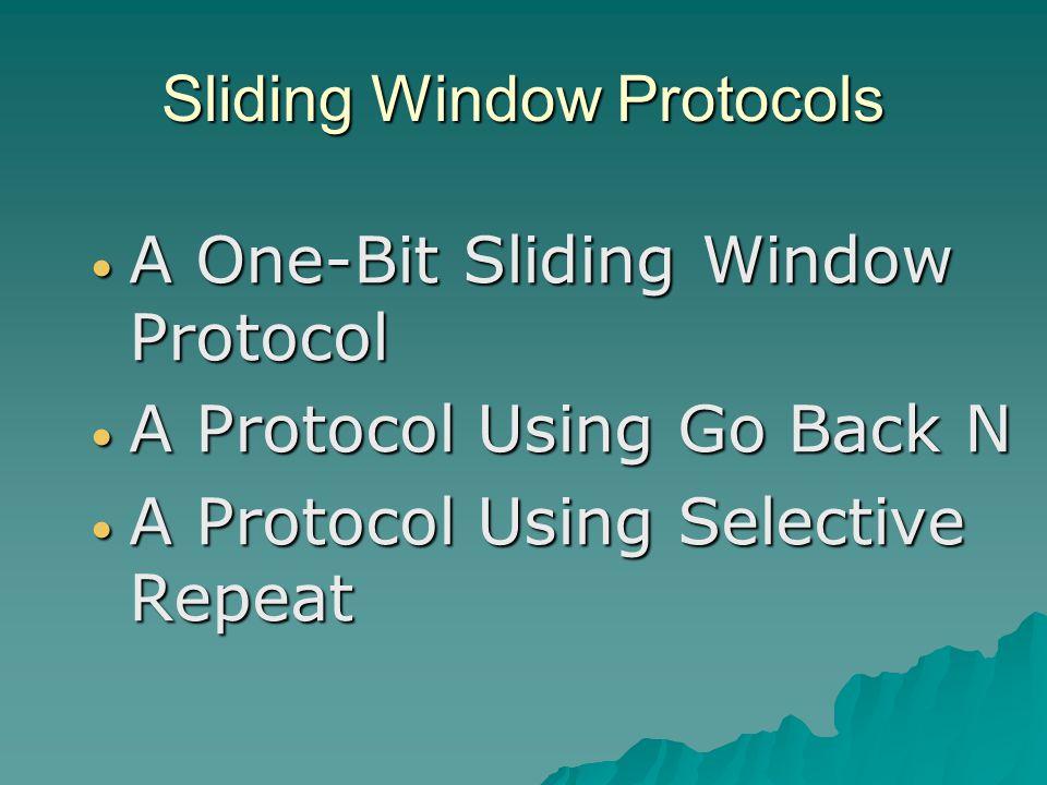 Sliding Window Protocols A One-Bit Sliding Window Protocol A One-Bit Sliding Window Protocol A Protocol Using Go Back N A Protocol Using Go Back N A P