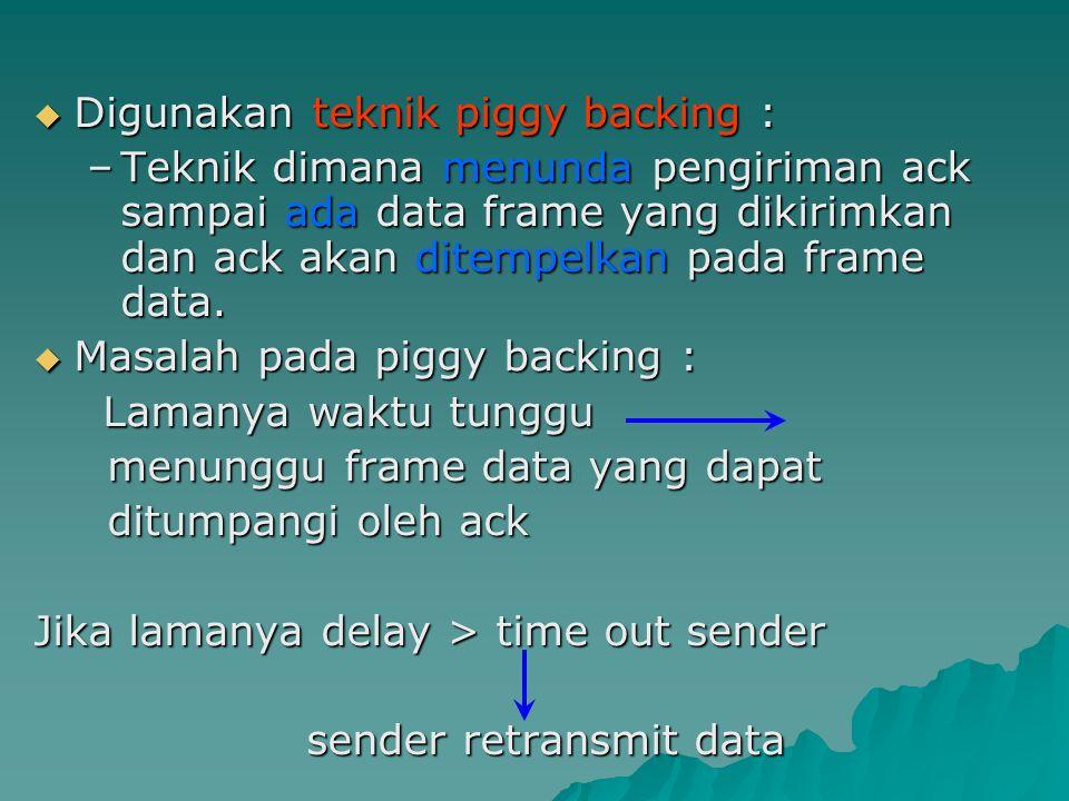  Digunakan teknik piggy backing : –Teknik dimana menunda pengiriman ack sampai ada data frame yang dikirimkan dan ack akan ditempelkan pada frame dat