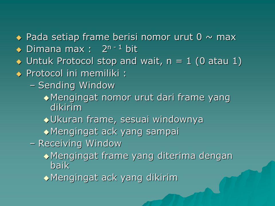  Pada setiap frame berisi nomor urut 0 ~ max  Dimana max : 2 n - 1 bit  Untuk Protocol stop and wait, n = 1 (0 atau 1)  Protocol ini memiliki : –S