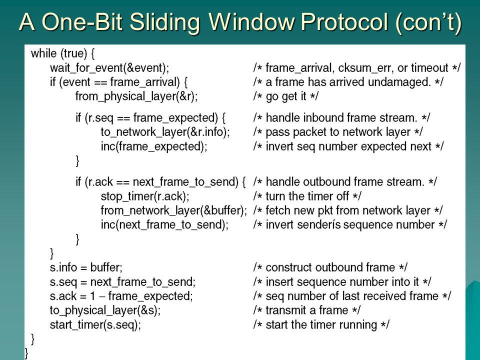 A One-Bit Sliding Window Protocol (con't)