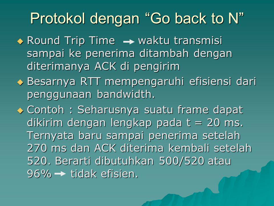 """Protokol dengan """"Go back to N""""  Round Trip Time waktu transmisi sampai ke penerima ditambah dengan diterimanya ACK di pengirim  Besarnya RTT mempeng"""