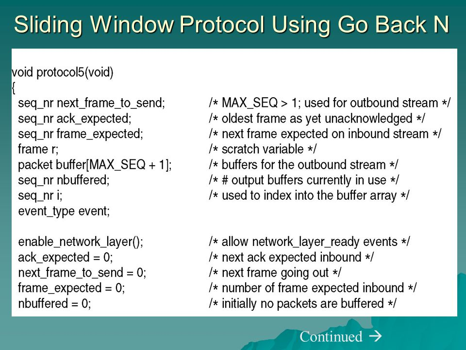 Sliding Window Protocol Using Go Back N Continued 