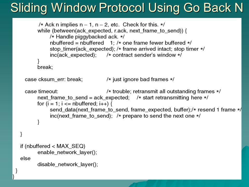 Sliding Window Protocol Using Go Back N
