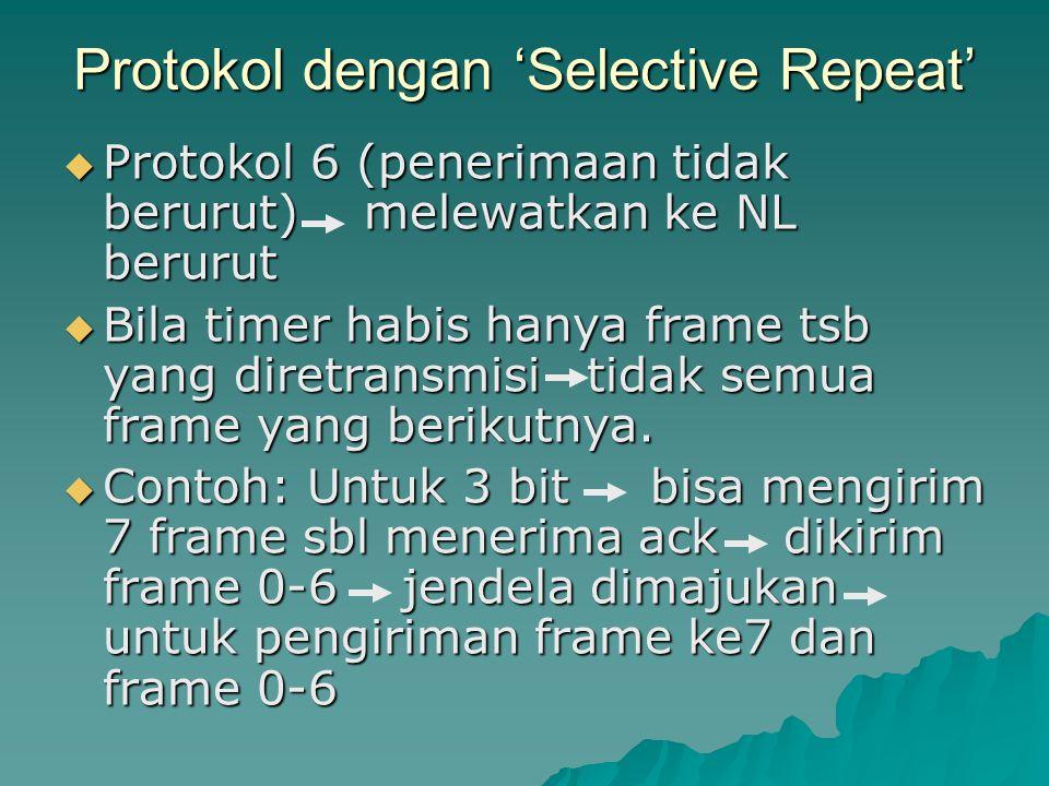 Protokol dengan 'Selective Repeat'  Protokol 6 (penerimaan tidak berurut) melewatkan ke NL berurut  Bila timer habis hanya frame tsb yang diretransm