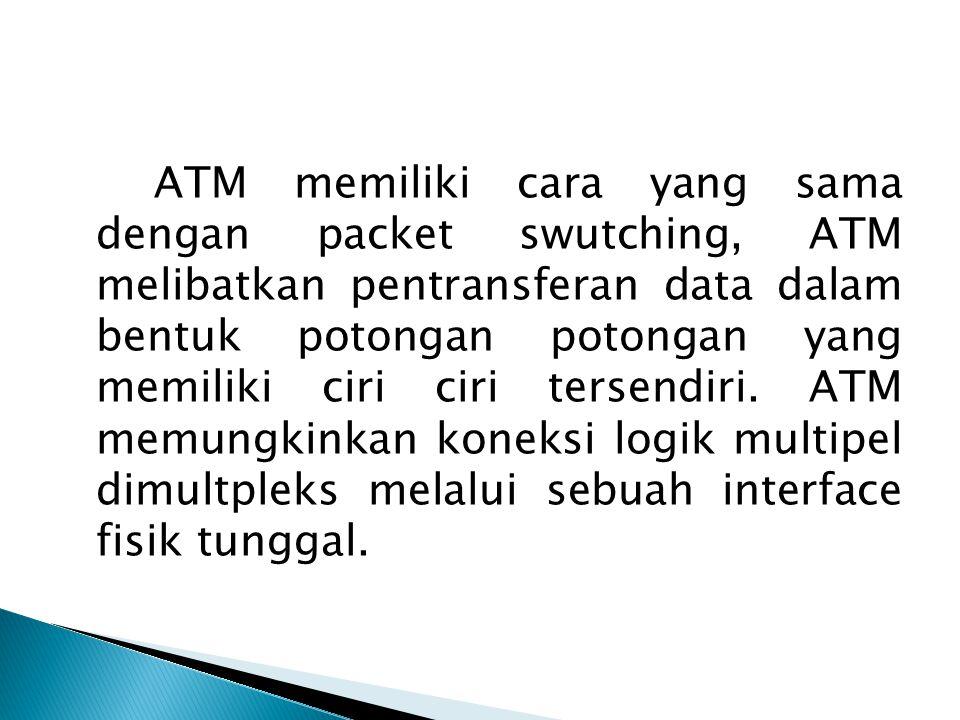 ATM memiliki cara yang sama dengan packet swutching, ATM melibatkan pentransferan data dalam bentuk potongan potongan yang memiliki ciri ciri tersendi
