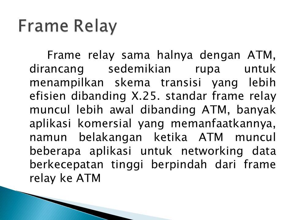 Frame relay sama halnya dengan ATM, dirancang sedemikian rupa untuk menampilkan skema transisi yang lebih efisien dibanding X.25. standar frame relay