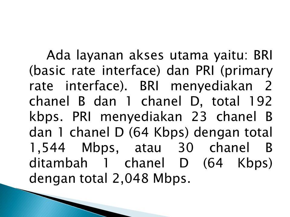 Ada layanan akses utama yaitu: BRI (basic rate interface) dan PRI (primary rate interface). BRI menyediakan 2 chanel B dan 1 chanel D, total 192 kbps.
