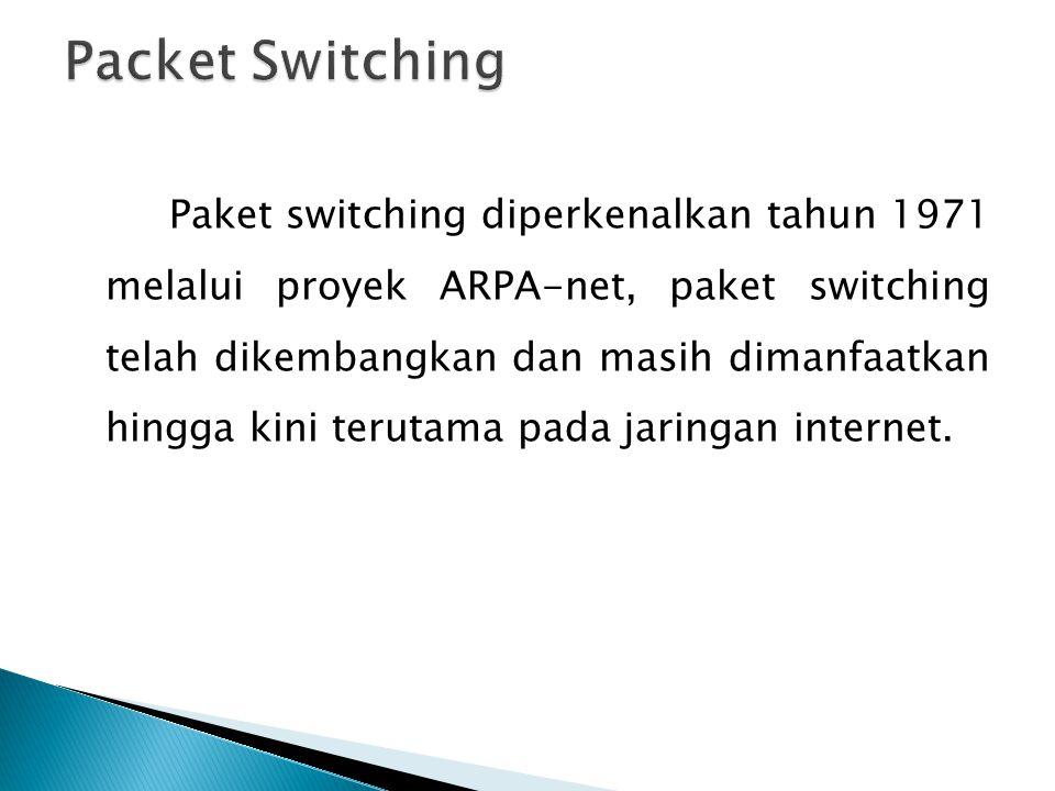 Paket switching diperkenalkan tahun 1971 melalui proyek ARPA-net, paket switching telah dikembangkan dan masih dimanfaatkan hingga kini terutama pada