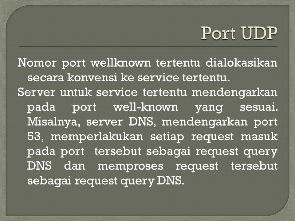 Nomor port wellknown tertentu dialokasikan secara konvensi ke service tertentu.
