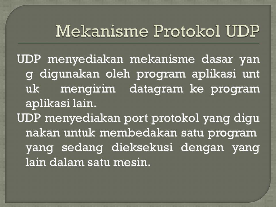UDP menyediakan mekanisme dasar yan g digunakan oleh program aplikasi unt uk mengirim datagram ke program aplikasi lain.
