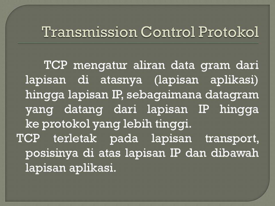 TCP mengatur aliran data gram dari lapisan di atasnya (lapisan aplikasi) hingga lapisan IP, sebagaimana datagram yang datang dari lapisan IP hingga ke protokol yang lebih tinggi.
