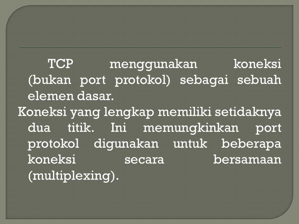 TCP menggunakan koneksi (bukan port protokol) sebagai sebuah elemen dasar.