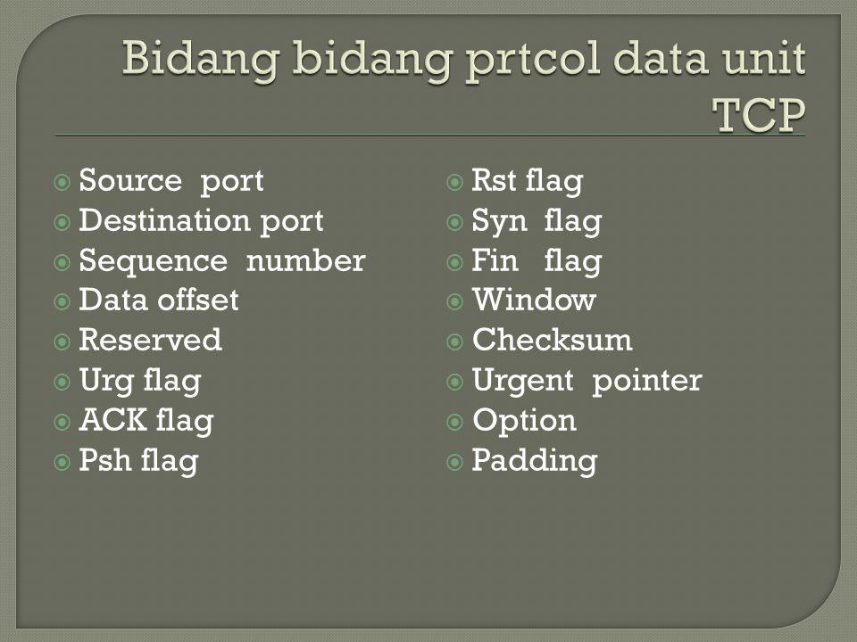  Source port  Destination port  Sequence number  Data offset  Reserved  Urg flag  ACK flag  Psh flag  Rst flag  Syn flag  Fin flag  Window  Checksum  Urgent pointer  Option  Padding