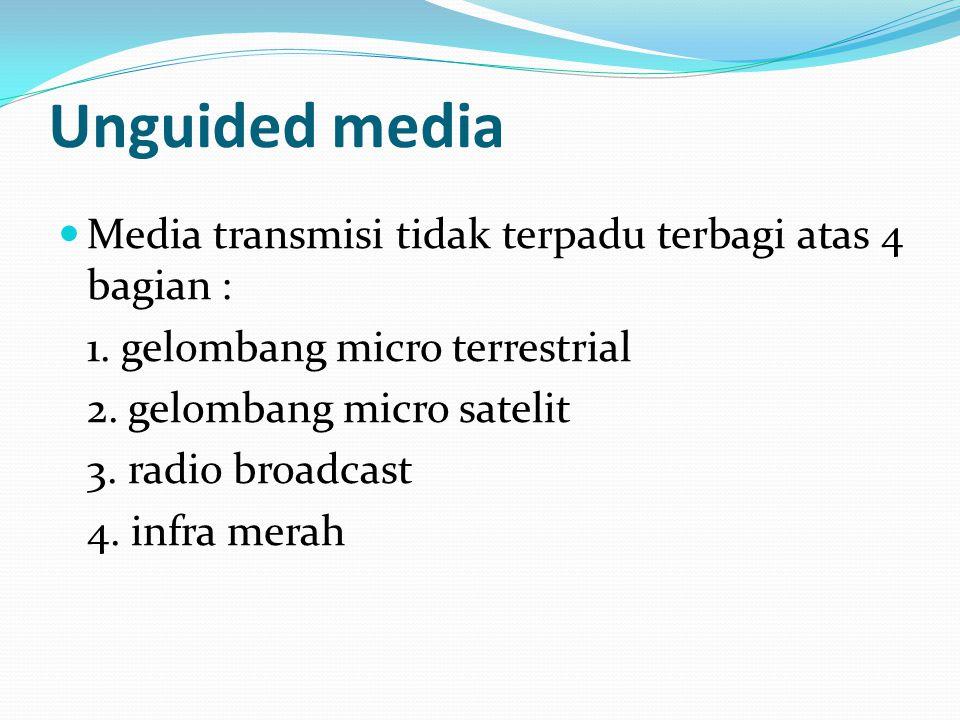 Unguided media Media transmisi tidak terpadu terbagi atas 4 bagian : 1. gelombang micro terrestrial 2. gelombang micro satelit 3. radio broadcast 4. i