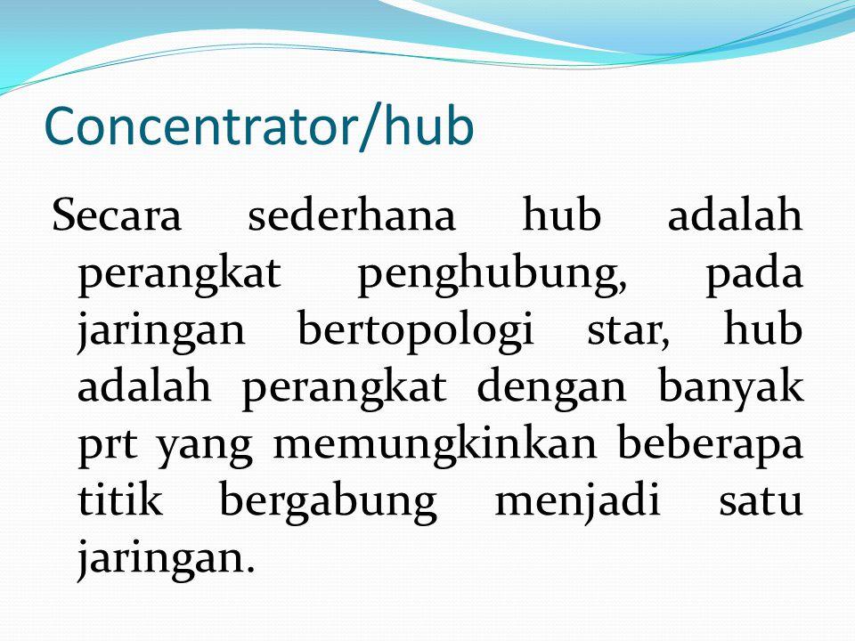 Concentrator/hub Secara sederhana hub adalah perangkat penghubung, pada jaringan bertopologi star, hub adalah perangkat dengan banyak prt yang memungkinkan beberapa titik bergabung menjadi satu jaringan.