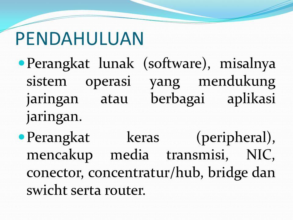PENDAHULUAN Perangkat lunak (software), misalnya sistem operasi yang mendukung jaringan atau berbagai aplikasi jaringan. Perangkat keras (peripheral),
