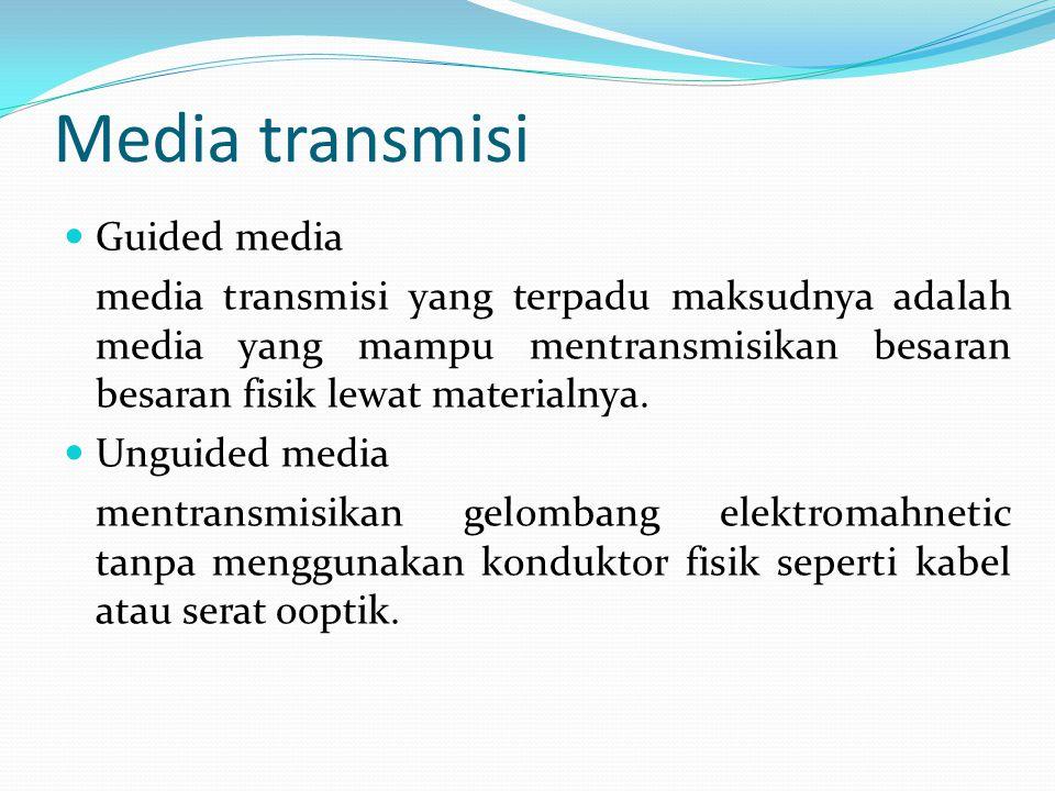 Media transmisi Guided media media transmisi yang terpadu maksudnya adalah media yang mampu mentransmisikan besaran besaran fisik lewat materialnya.