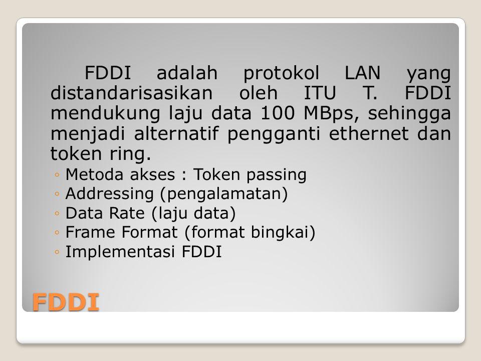 FDDI FDDI adalah protokol LAN yang distandarisasikan oleh ITU T. FDDI mendukung laju data 100 MBps, sehingga menjadi alternatif pengganti ethernet dan