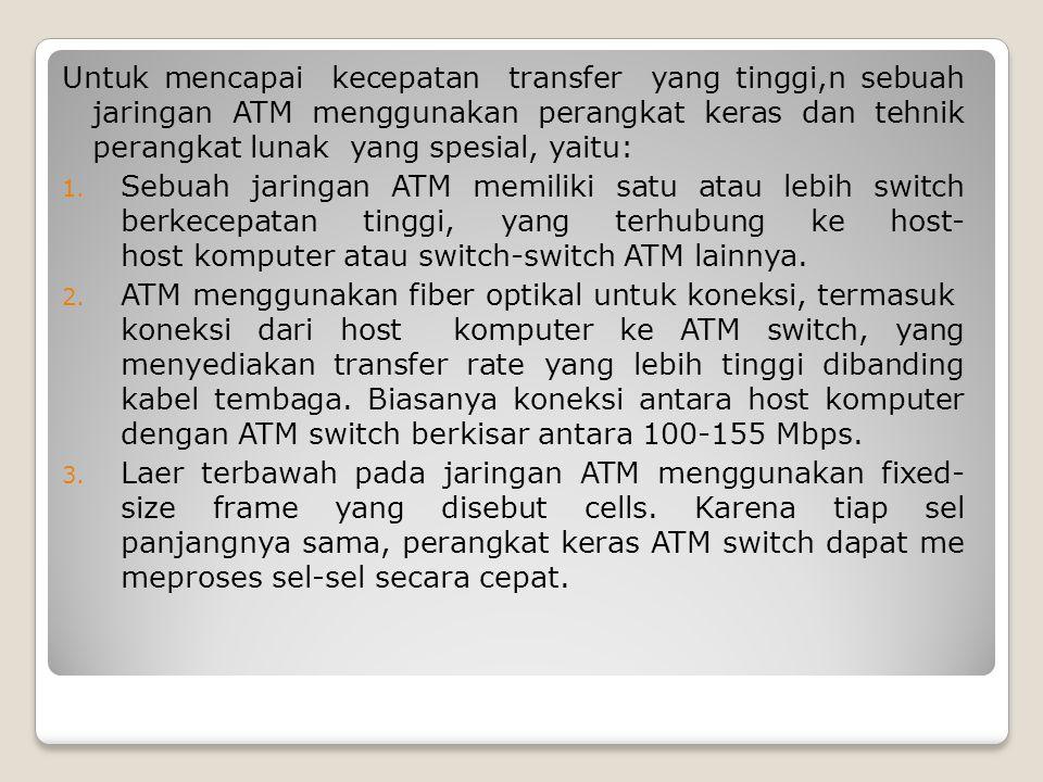 Untuk mencapai kecepatan transfer yang tinggi,n sebuah jaringan ATM menggunakan perangkat keras dan tehnik perangkat lunak yang spesial, yaitu: 1. Seb
