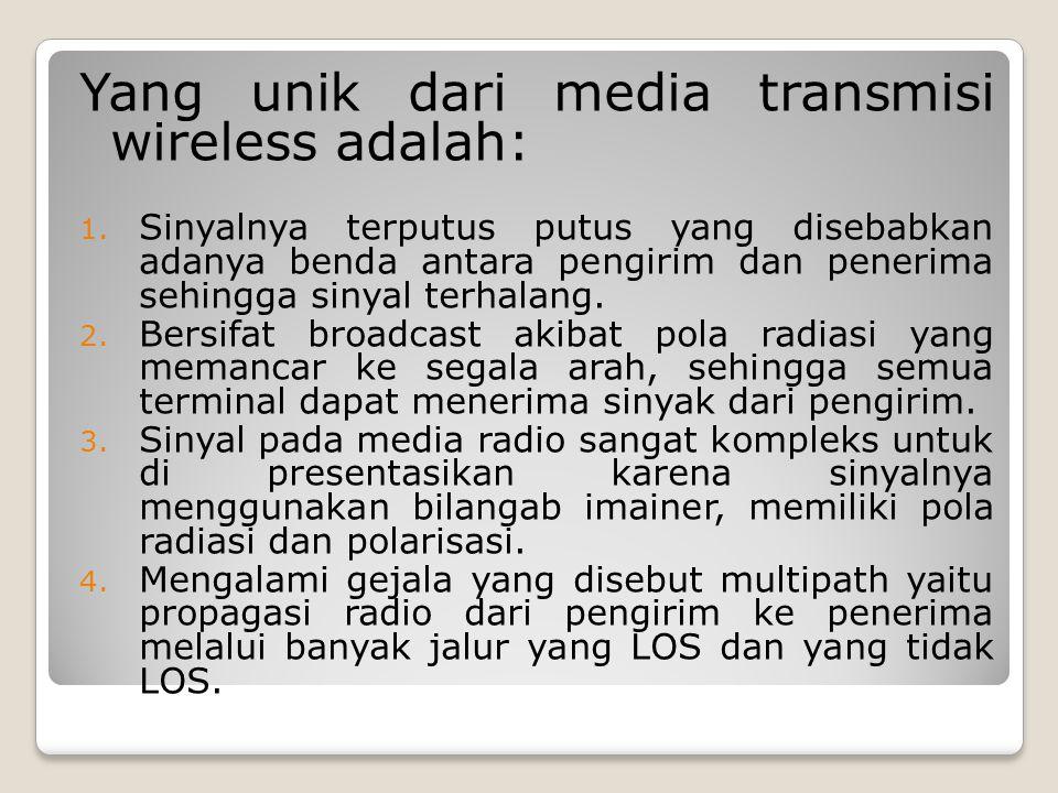 Yang unik dari media transmisi wireless adalah: 1. Sinyalnya terputus putus yang disebabkan adanya benda antara pengirim dan penerima sehingga sinyal