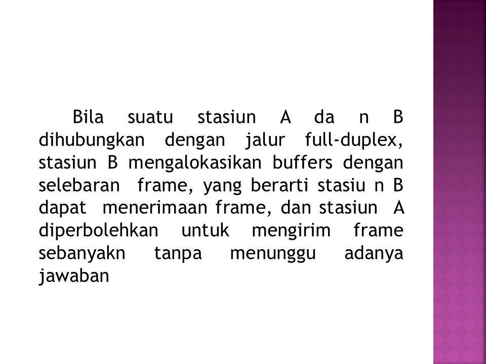 Bila suatu stasiun A da n B dihubungkan dengan jalur full-duplex, stasiun B mengalokasikan buffers dengan selebaran frame, yang berarti stasiu n B dap