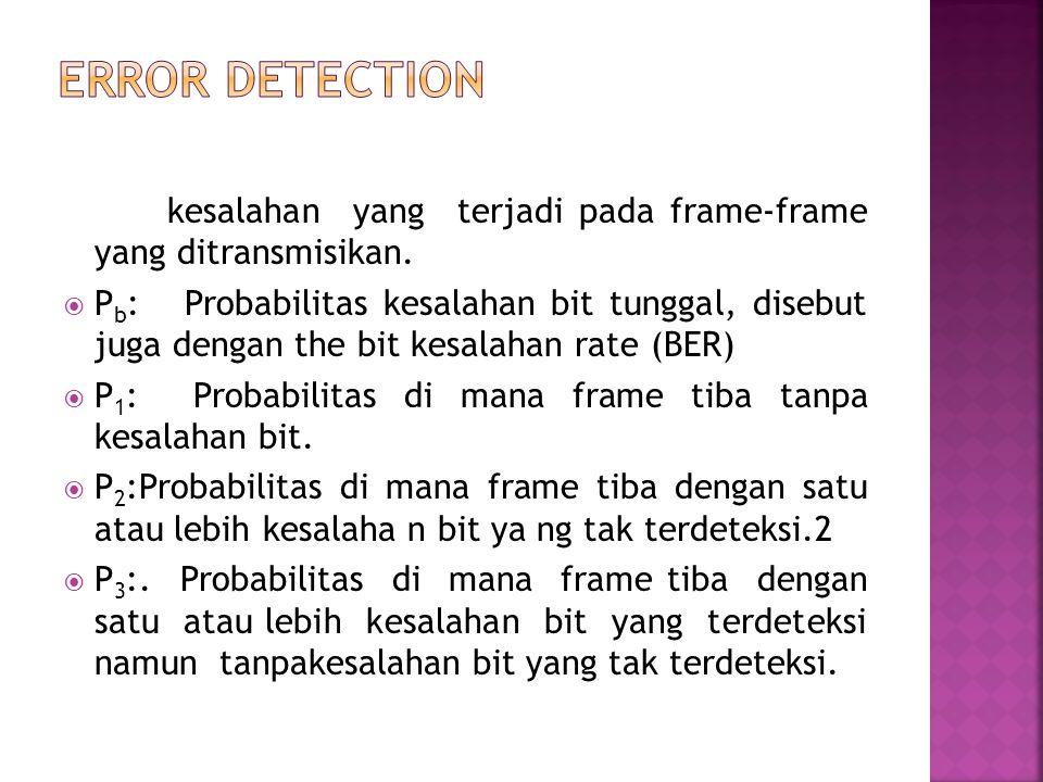 kesalahan yang terjadi pada frame-frame yang ditransmisikan.  P b : Probabilitas kesalahan bit tunggal, disebut juga dengan the bit kesalahan rate (B