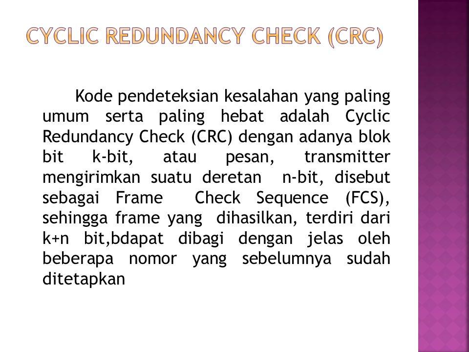 Kode pendeteksian kesalahan yang paling umum serta paling hebat adalah Cyclic Redundancy Check (CRC) dengan adanya blok bit k-bit, atau pesan, transmi