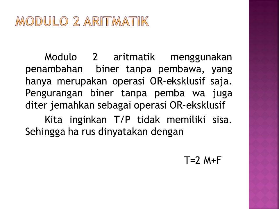 Modulo 2 aritmatik menggunakan penambahan biner tanpa pembawa, yang hanya merupakan operasi OR-eksklusif saja. Pengurangan biner tanpa pemba wa juga d