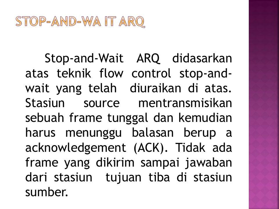 Stop-and-Wait ARQ didasarkan atas teknik flow control stop-and- wait yang telah diuraikan di atas. Stasiun source mentransmisikan sebuah frame tunggal