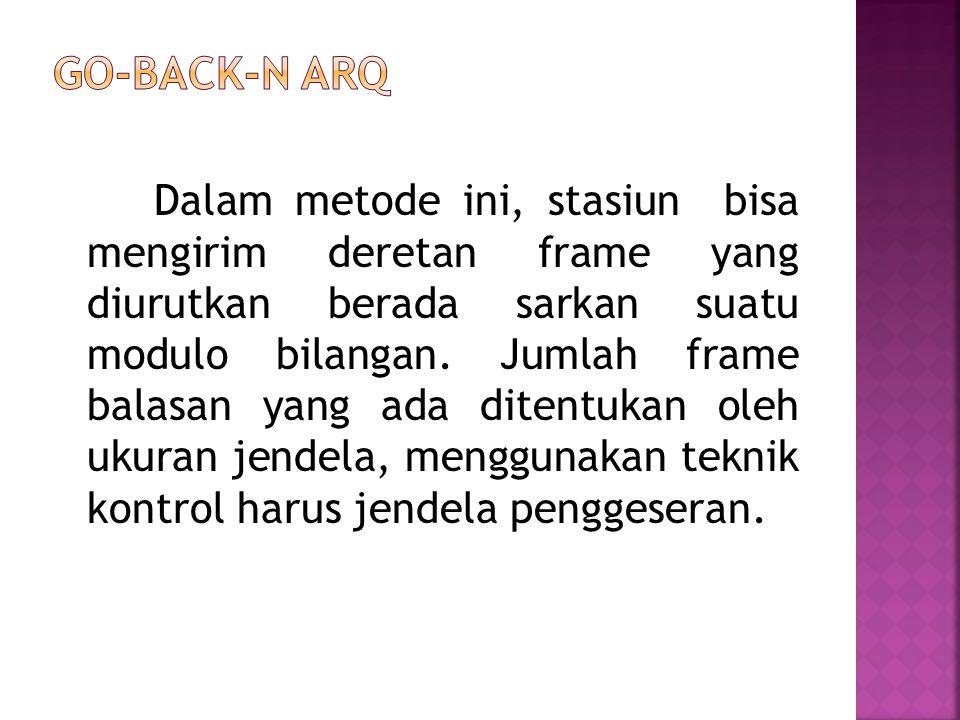 Dalam metode ini, stasiun bisa mengirim deretan frame yang diurutkan berada sarkan suatu modulo bilangan. Jumlah frame balasan yang ada ditentukan ole