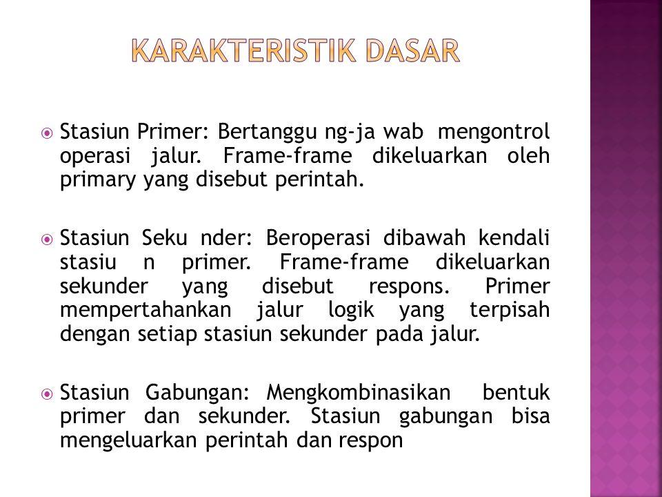  Stasiun Primer: Bertanggu ng-ja wab mengontrol operasi jalur. Frame-frame dikeluarkan oleh primary yang disebut perintah.  Stasiun Seku nder: Berop
