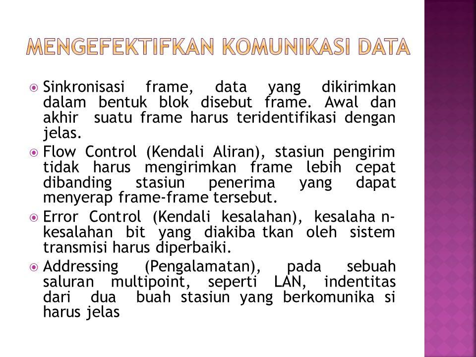  Sinkronisasi frame, data yang dikirimkan dalam bentuk blok disebut frame. Awal dan akhir suatu frame harus teridentifikasi dengan jelas.  Flow Cont