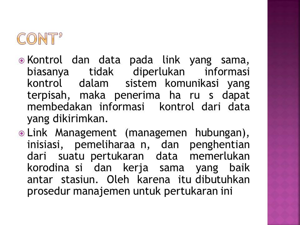  Kontrol dan data pada link yang sama, biasanya tidak diperlukan informasi kontrol dalam sistem komunikasi yang terpisah, maka penerima ha ru s dapat
