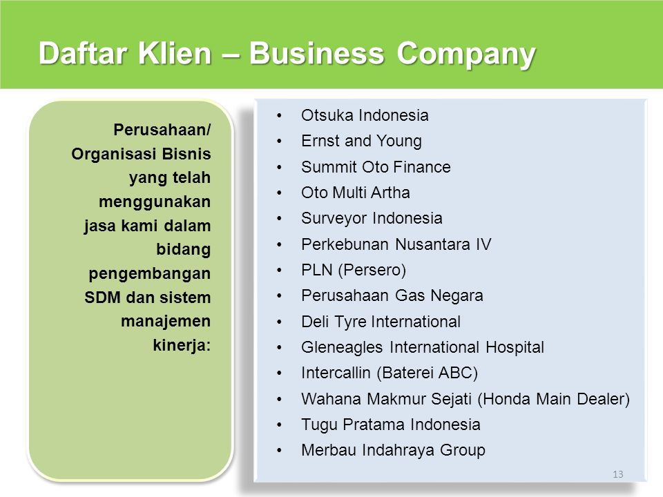 Daftar Klien – Business Company 13 Otsuka Indonesia Ernst and Young Summit Oto Finance Oto Multi Artha Surveyor Indonesia Perkebunan Nusantara IV PLN
