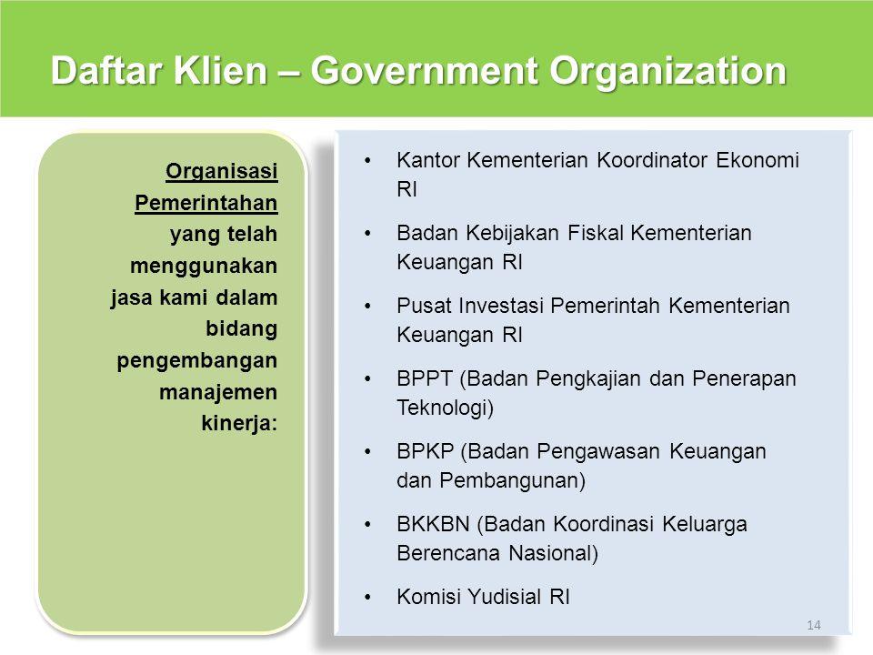 Daftar Klien – Government Organization 14 Kantor Kementerian Koordinator Ekonomi RI Badan Kebijakan Fiskal Kementerian Keuangan RI Pusat Investasi Pem