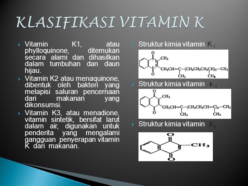  Vitamin K1, atau phylloquinone, ditemukan secara alami dan dihasilkan dalam tumbuhan dan daun hijau.  Vitamin K2 atau menaquinone, dibentuk oleh ba