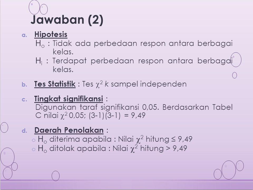 a. Hipotesis H o : Tidak ada perbedaan respon antara berbagai kelas. H i : Terdapat perbedaan respon antara berbagai kelas. b. Tes Statistik : Tes  2