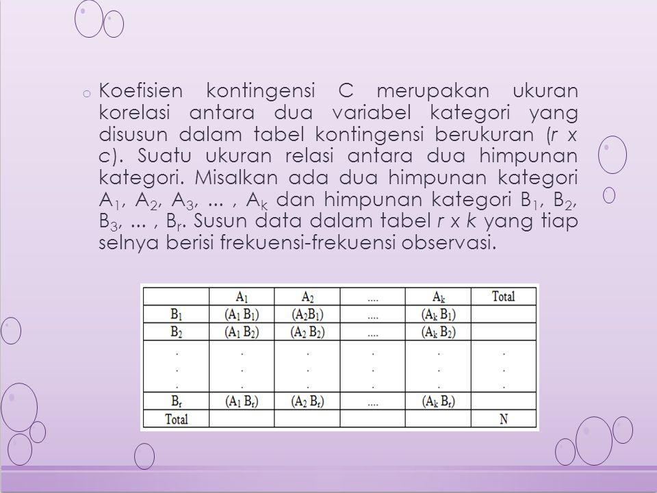o Koefisien kontingensi C merupakan ukuran korelasi antara dua variabel kategori yang disusun dalam tabel kontingensi berukuran (r x c).
