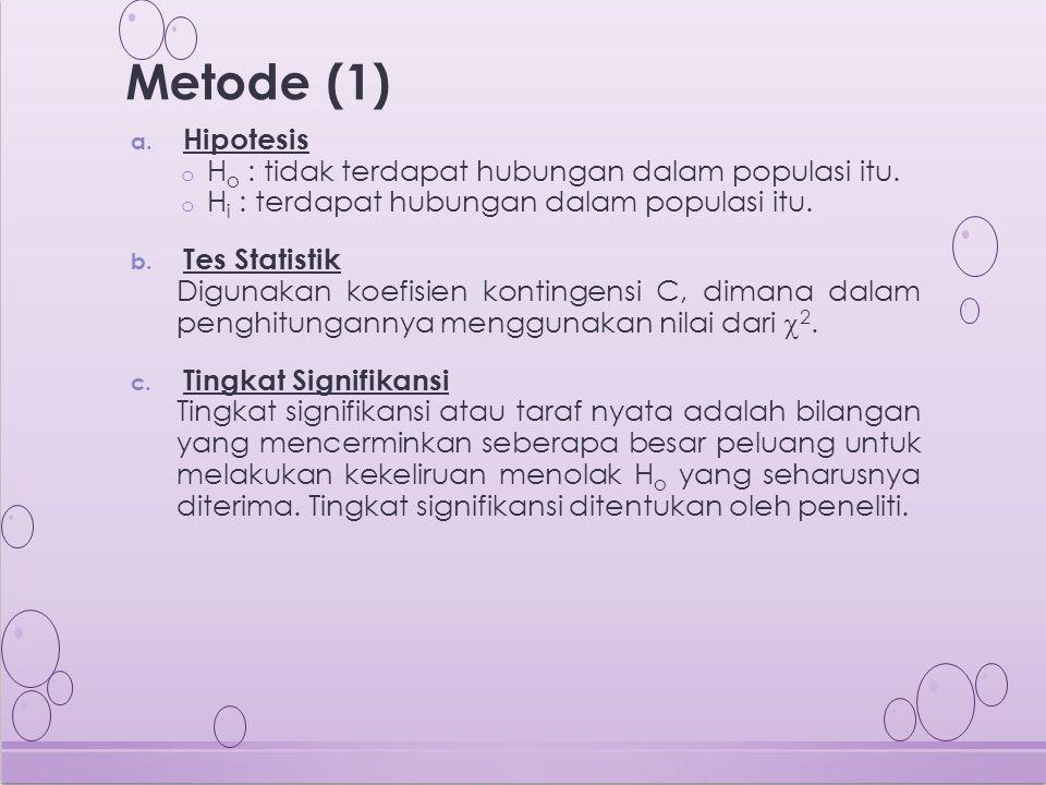 Metode (1) a. Hipotesis o H o : tidak terdapat hubungan dalam populasi itu. o H i : terdapat hubungan dalam populasi itu. b. Tes Statistik Digunakan k