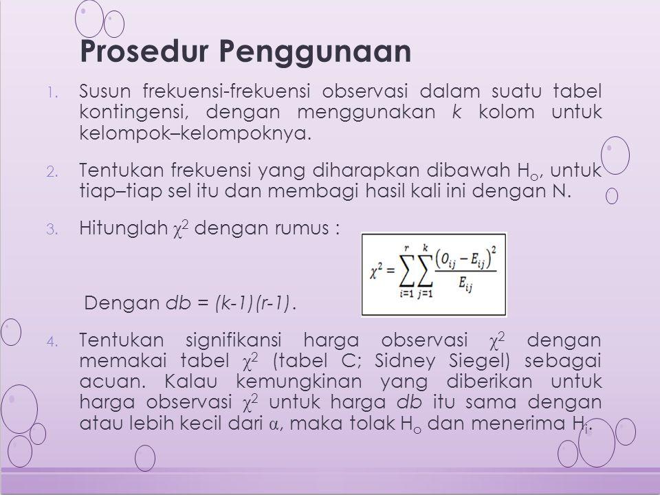 1. Susun frekuensi-frekuensi observasi dalam suatu tabel kontingensi, dengan menggunakan k kolom untuk kelompok–kelompoknya. 2. Tentukan frekuensi yan